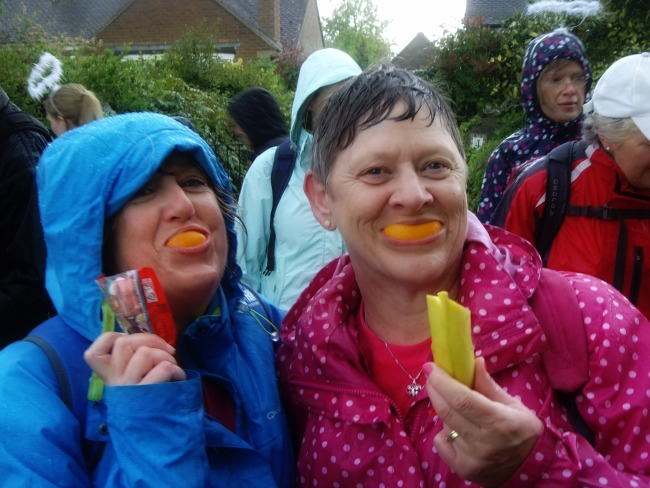 Oranges, bananas and Haribo....the perfect rest stop! (Please note our miserable co-walker in the blue spotty mac!)