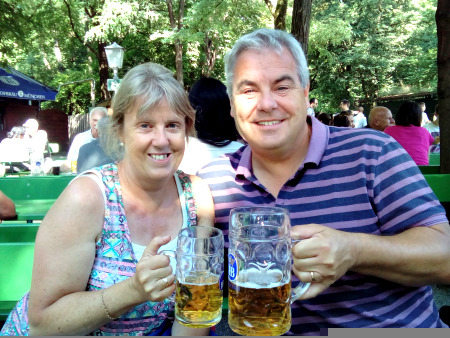 Jon and Jo with another beer in the English Garden