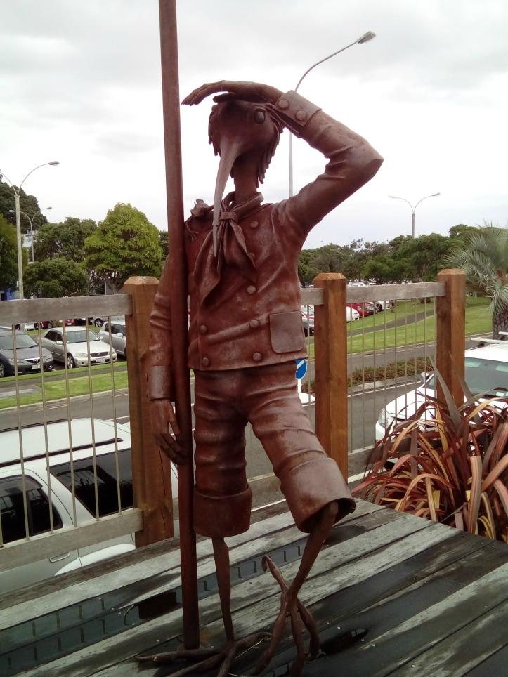 Maori statue on the river front at Whakatane