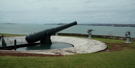 Disappearing gun at North Head
