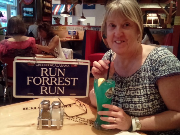 The Bubba Blue Hawaiian cocktail at the Bubba Gump Shrimp Co.
