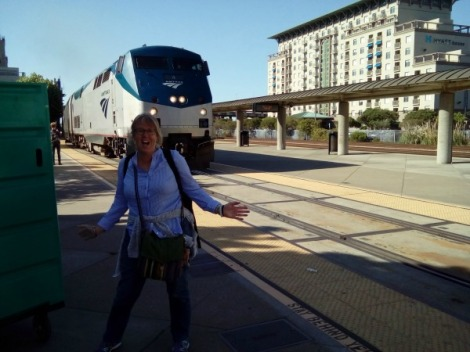 Emeryville station in Oakland, California as Amtrak train 6 arrives