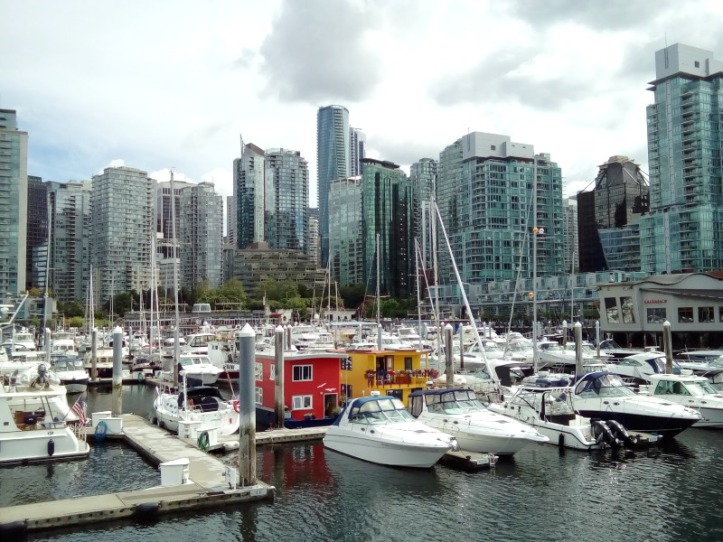 Coal Harbour Marina in Vancouver Harbour and our favourite little yellow houseboat
