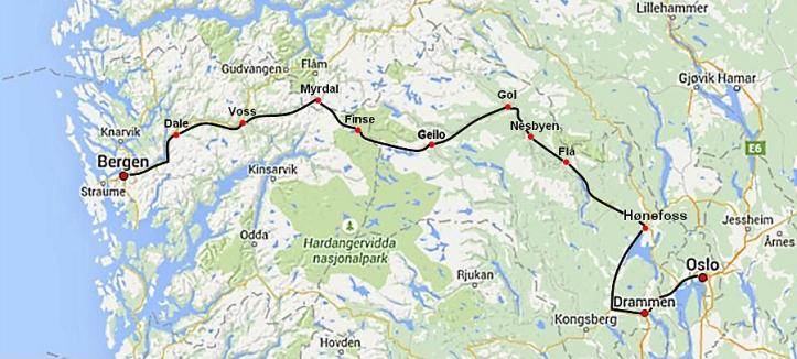 Bergensbanen Map