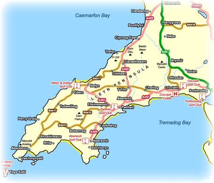 Llyn Peninsula Wales Map
